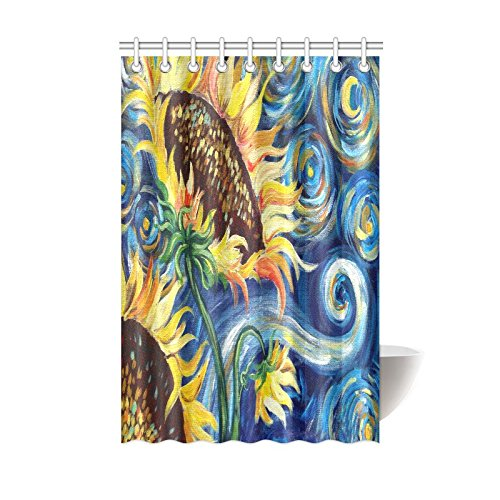 Vincent Van Gogh Painting Sunflower Waterproof Bathroom decor Fabric Shower Curtain Polyester Fabric 48 x 72 ()