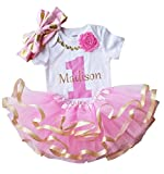 1st Birthday Girl - Pink Gold Personalized Outfit(12M Long Sleeve)