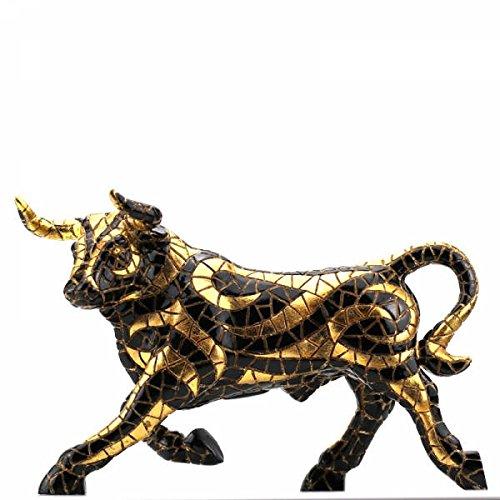 Laure TERRIER Ceramic bull statue, model mosaic Barcino. Length 9,4 inches