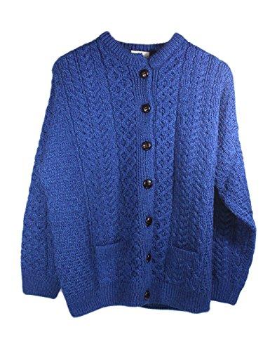 Irish Fisherman Sweater Ladies 100% Merino Wool Blue, Medium