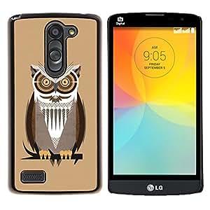 """Be-Star Único Patrón Plástico Duro Fundas Cover Cubre Hard Case Cover Para LG L Prime / L Prime Dual Chip D337 ( Owl Branch Brown Big Eyes árbol del pájaro del bosque"""" )"""