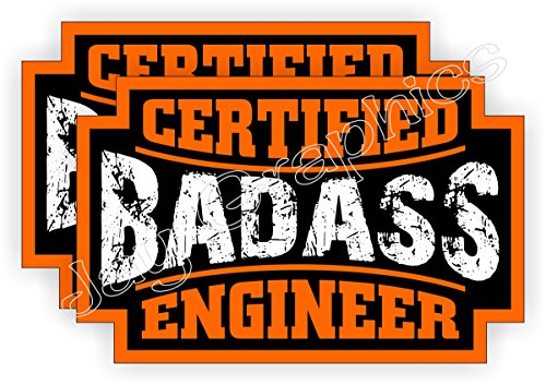 (2) Badass ENGINEER Hard Hat Stickers | Bad Ass Motorcycle Helmet Decals | Boss Bossman Company Laborer Construction Labor Worker Harness Safety Labels - Ass Bad Stickers