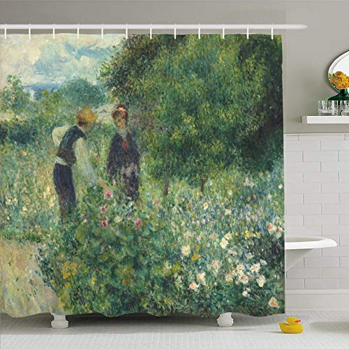 Ahawoso Shower Curtain 72x78 Inches Near Impressionist Picking Flowers by Auguste Renoir Ground Painting Garden French Impressionism 19Th Waterproof Polyester Fabric Bathroom Curtains Set with Hooks