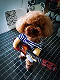 QJUN Pet Guitar Costume Dog Costumes Guitarist Player Halloween Christmas Cosplay Party Funny Cat Clothes