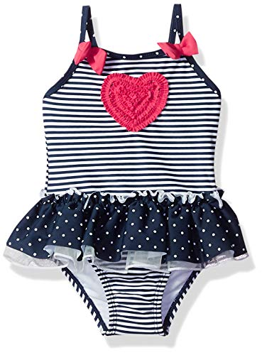- Little Me Kids' Baby and Toddler Girls UPF 50+ One Piece Swimsuit, Navy/Heart, 18 Months