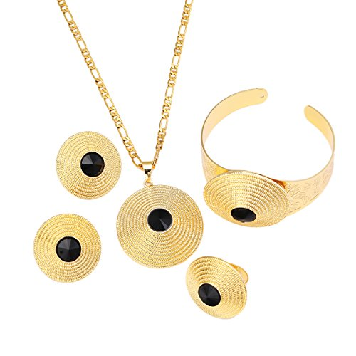 African Gold Jewelry Round Stone Pendant Earrings Bangle 24K Gold Plated Classical Set (Black)