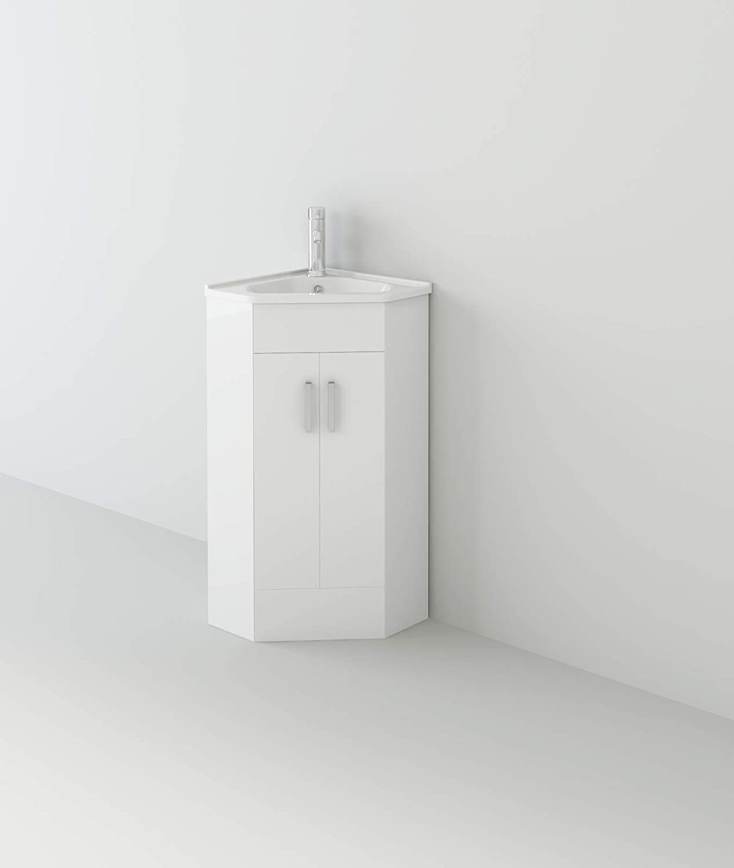 VeeBath Linx 550mm White Gloss Vanity Basin Unit /& Elmbridge Chrome Basin Mixer
