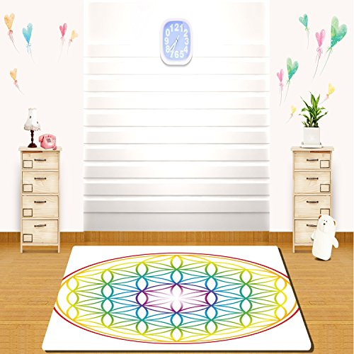 HAIXIA rugs Colorful Flower of Life Pattern Radiant Colors Cosmic Dimension Space Forms Artful Print