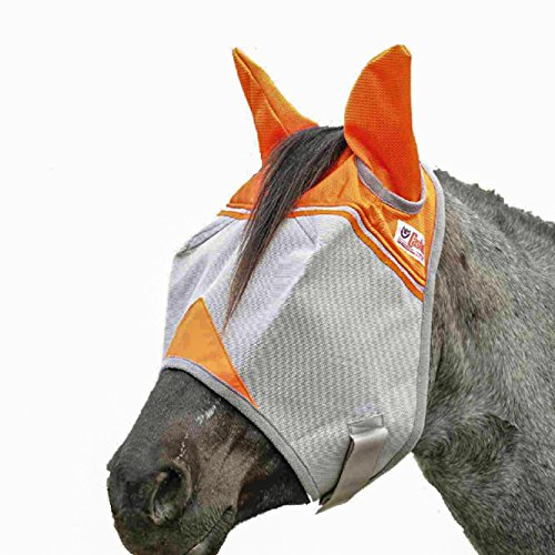 Crusader Fly Mask - Cashel Crusader Standard Fly Mask with Orange Ears, Animal Rescue Benefit - Size: Horse