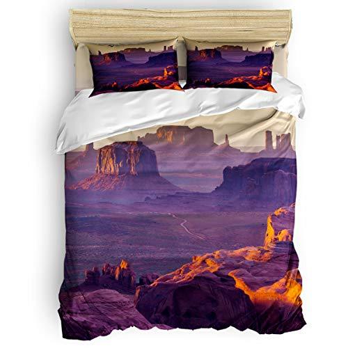 Home Duvet Cover Set King Size Grand Canyon Rock Landscepe Printed 4 Pcs Bedding Set Include Duvet Cover, Flat Sheet, Pillow Shams for ()
