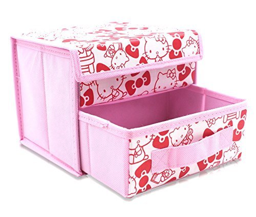 Finex Pink Hello Kitty Foldable Storage Organizer Box for Desk - with Removable Drawer]()