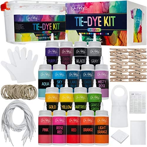 Tie Dye Kit — 18 Vibrant and Bright Colors in Easy-Squeeze Bottles Plus Enough Supplies for 10 People — DIY Tie Dye Kit for Kids, Adults, and Groups — Fabric Dye Colors for Shirts and Clothes