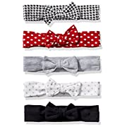 Hudson Baby Baby Girls' Infant Headband, 5 Pack, Houndstooth, 0-24 Months