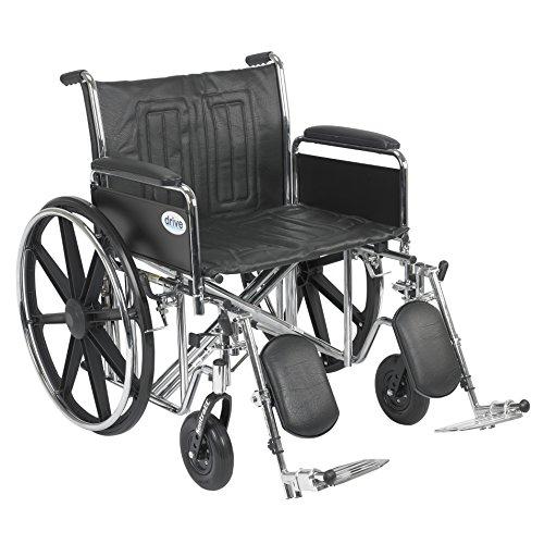 Wheelchair Std Dual-Axle 24 w/Rem Full Arms & Elev Legrest Rem Full Arms