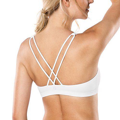 Low Cut Sports Bra (CRZ YOGA Women's Light Support Cross Back Wirefree Removable Cups Yoga Sport Bra White L)