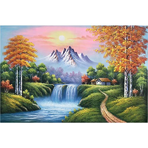 Canvas Wall Art Hand Painted Oil Painting Waterfall Nature Scenery Home Decoration Natural Landscape Artwork 24x35 Inch (1-E)