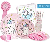 Unicorn Baby Shower Decorations | Party Pack Set for an Adorable Baby Shower or a Unicorn Birthday Party Supplies for a Little Girl. Pink and Blue Themed Decor, Including Plates, Napkins, Banners.