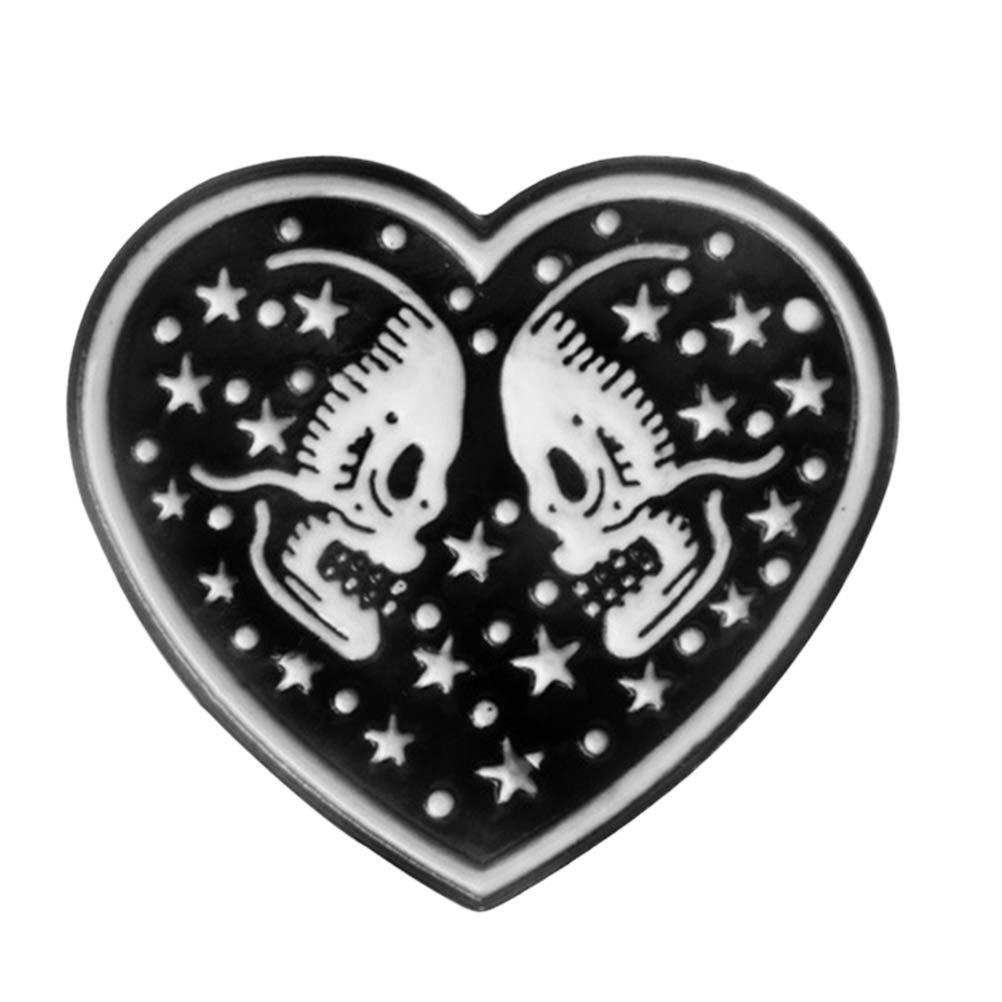 BESTOYARD Punk Forma de coraz/ón Broche de Esqueleto Cr/áneo Negro Esmalte Pin Capa Insignia Pareja Joyer/ía Regalos