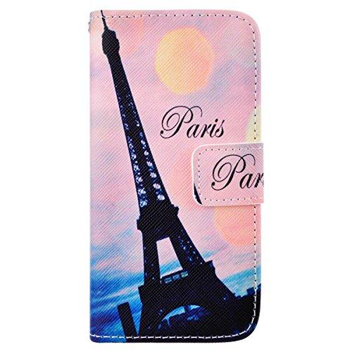 SmartLegend Etui Coque pour Apple iPhone 5C Pochette Protection PU Cuir Wallet Flip Etui Housse à Rabat Magnétique Fonction Stand Anti Choc Fine Fente Carte Encastrée - Tour Eiffel