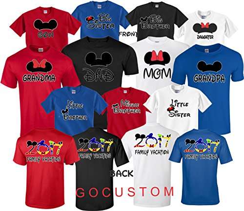 Mickey DAD Minnie Mom Disney FAMILY Vacation 2017 FRONT & BACK Matching Tshirts Big Sister-White-S (Disney Family T Shirts)