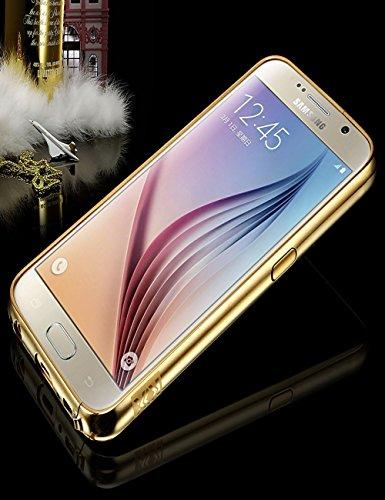 S6 Case ,Samsung Galaxy S6 Metal Bumper Case,XIQI®Slim Shock-Absorption Aluminum Metal Bumper +PC Mirror Back Case Cover For Samsung Galaxy S 6 (TUHAO GOLD)