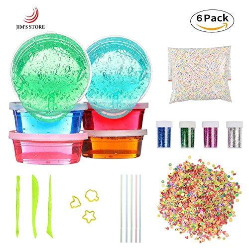 Kids Toys Soft Slime DIY Slime Kit, JIM'S STORE 6 Pack Non-toxic Crystal Magic Plasticine Toys for Easter Egg with 5000PCS Foam Balls, 2500PCS Fruit Decoration, 4 Glitter Shaker Jars(Color random) -