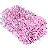 300PCS Crystal Eyelash Mascara Brushes Wands Applicator Makeup Kits (Pink) (Color: Pink, Tamaño: 300PCS)