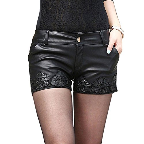 (SansoiSan Ladies Faux Leather Shorts PVC Short Pants with Pockets (X-Small))
