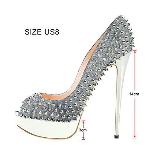 Onlymaker Damenschuhe High Heels Pumps Peep Toe Stiletto Plateau Absatz Lackleder Denim-grau