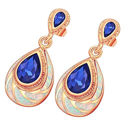 Sinlifu Silver Plated Blue or White Fire Australian Opal Topaz Dangle Drop Earrings (White Rose ()