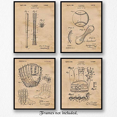 Original Baseball Patent Art Poster Prints - Set of 4 (Four 8x10) Unframed Vintage Style Mitt, Glove, Bat & Baseball Pictures - Great Wall Art Decor Gifts Under $20 for MLB Fan, Man Cave,Gym, Office
