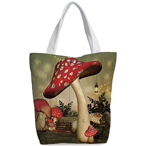 Canvas Shopping bag,shoulder handbags,Shoulder Bag,Mushroom,Swing Hanging From Mushroom Wild Grass and Plants Dreamlike Atmosphere Decorative,Red Ivory Army Green,Unique Durable Canvas Tote Bag