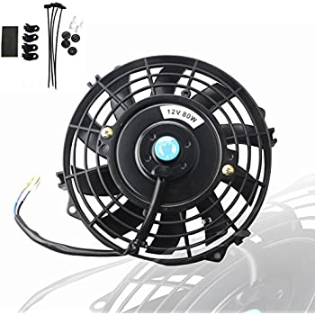 MOSTPLUS Black Universal Electric Radiator Slim Fan Push/Pull 12V + Mounting Kit (7 Inch)