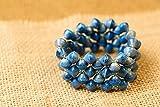 Paper Bead Stretch Imara Cuff Bracelet - Blue - Fair Trade BeadforLife Jewelry from Africa