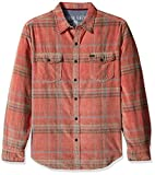 True Grit Men's Vintage Plaid Canyon Cord Long Sleeve Two Pocket Shirt, Barn Red Austin Plaid, M