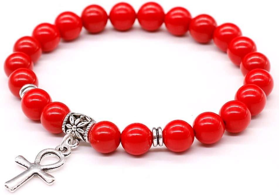 YCWDCS Pulsera Pulsera de Perlas de Piedra de cinabrio Rojo, Piedra Natural Blanco Tridacna Egipcio AnkhCruz Colgante de joyería para Mujeres y Hombres Pulsera