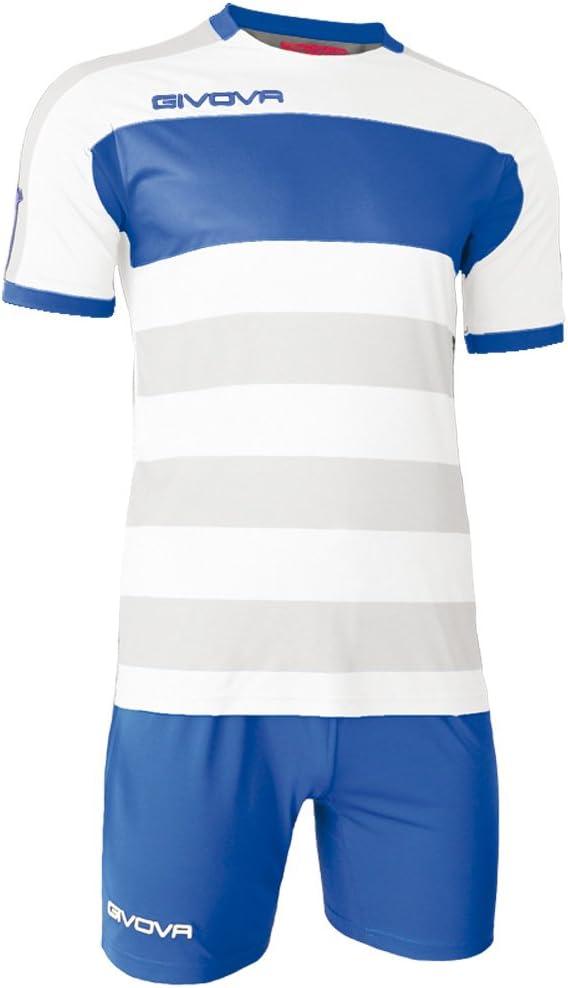 Bianco//Azzurro, L Completino di Maglia Manica Corta e Pantaloncino//Home Shop Italia Marchio Givova Modello Kit Rugby MC