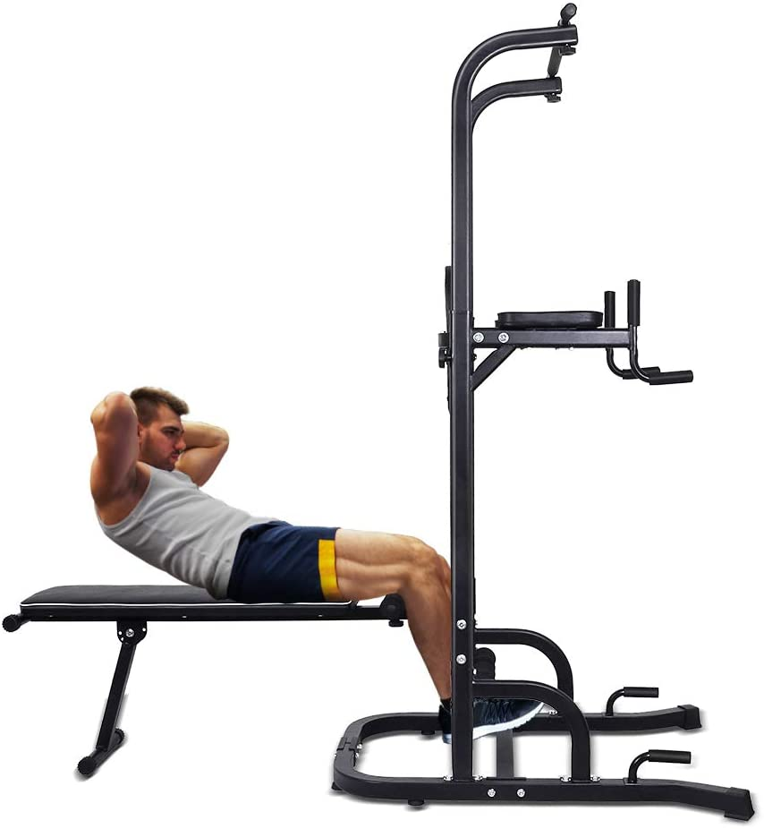 ONETWOFIT Multi-Function Power Tower with Sit Up Bench