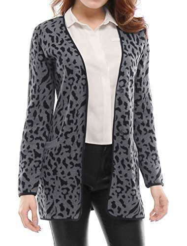 Allegra K Women Leopards Prints V Neck Button-Front Knit Tunic Cardigan L Grey