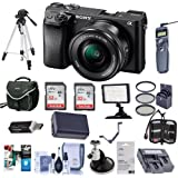 Sony Alpha a6300 Mirrorless Digital Camera Black with 16-50mm Lens - Bundle With Camera Bag, 2 x 32GB U3 SDHC Cards, Spare Battery, Video Light, 40.5mm Filter Kit, Tripod, Software Package And More
