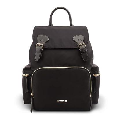 Hafmall Mochila para Pañales Impermeable y Elegante Bolsa de Pañales para Bebés para Viajes con Bolsillos Aislados (Negro)