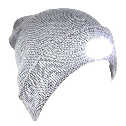 Genuva Unisex 5 LED Knitted Beanie Hat for Walking, Jogging, Camping, Hunting & Grilling, Hands Free Led Beanie Cap (Light Grey)