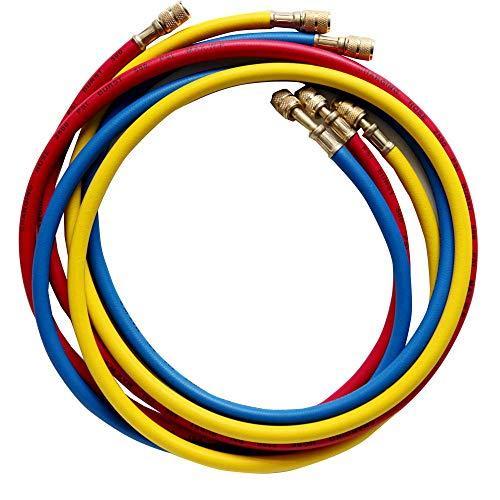 """Wostore AC Refrigerant Charging Hoses,1/4"""" Standard Hoses for R12,R22,R502-60"""" HVAC,Set of 3"""