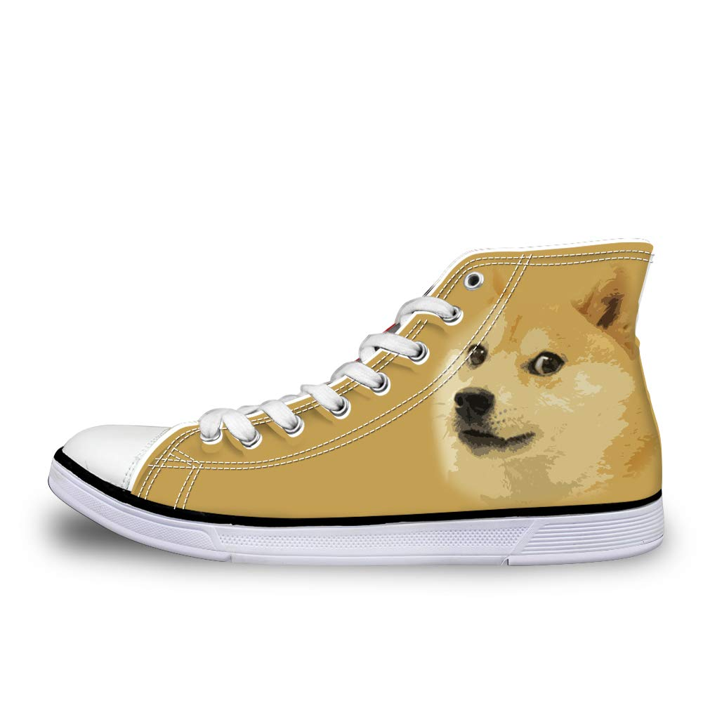 Canvas High Top Sneaker Casual Skate Shoe Mens Womens Shiba Inu Doge Meme