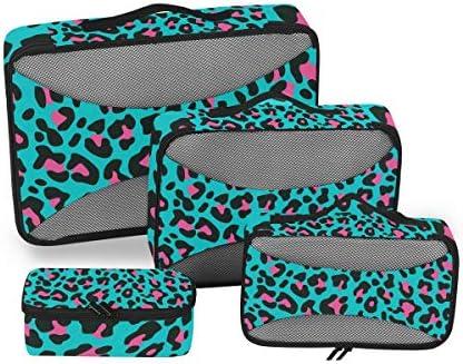 ピンクスポットブルーヒョウ柄荷物パッキングキューブオーガナイザートイレタリーランドリーストレージバッグポーチパックキューブ4さまざまなサイズセットトラベルキッズレディース