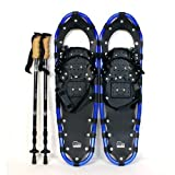 New MTN Extreme Lightweight All Terrian Man Woman Kid Teen Snowshoes up to 255 lbs /Free Bag + Nordic Pole - BLUE (22' inch)