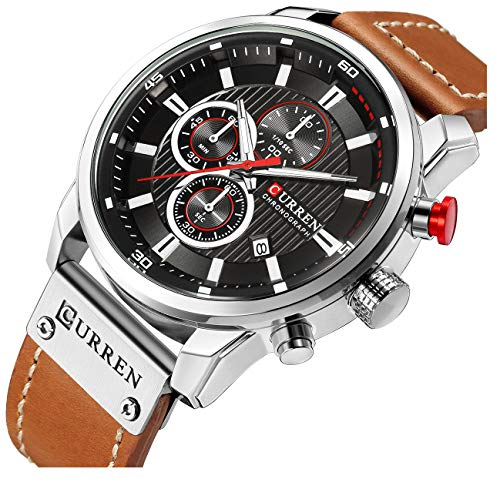 (Mens Leather Strap Watches Stainless Steel Classic Casual Dress Waterproof Chronograph Date Analog Quartz Watch (Silver) (Silver))