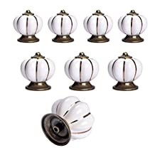 Yazer Vintage New Fashion Pumpkin Decorative Knobs and Pulls Handles for Kitchen Cabinet,Drawer,Dressers,Cupboard,Wardrobe[Pack of 8] (White)