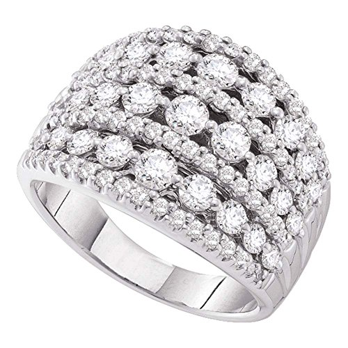 14k White Gold Womens Round Diamond Symmetrical Fashion Band Ring (2.00 cttw.)