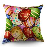 Egg Shell Bed Cover Moslion Easter Pillow Case Colorful Eggs Flowers Leaves Polka Dot Circles On Eggshell Pillow Cover Decorative Square Cushion Accent Cotton Linen 18x18 Inch for Christmas Sofa Chair